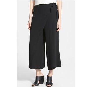 Eileen Fischer Wrap Front Leg Silk Crop Pant
